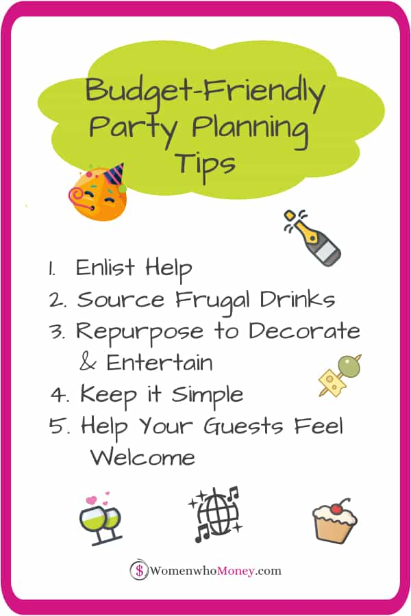 Budget friendly party planning tips graphic