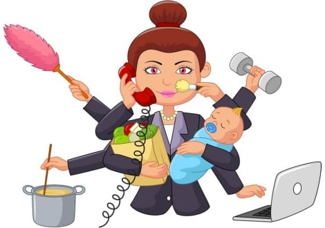 cartoon image of female balance business and home life