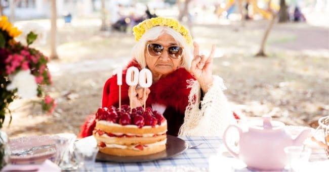 woman celebrating 100th birthday