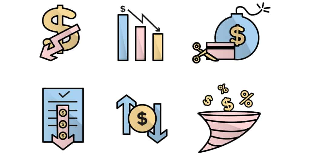 financial and credit card lowering icons