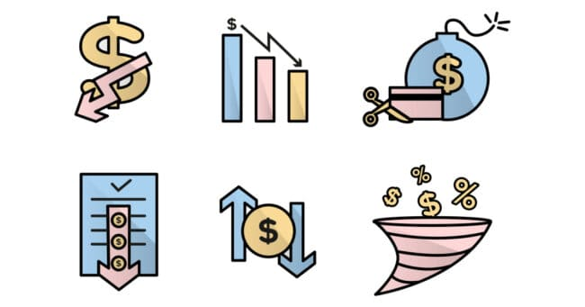 banks and reduced credit icons