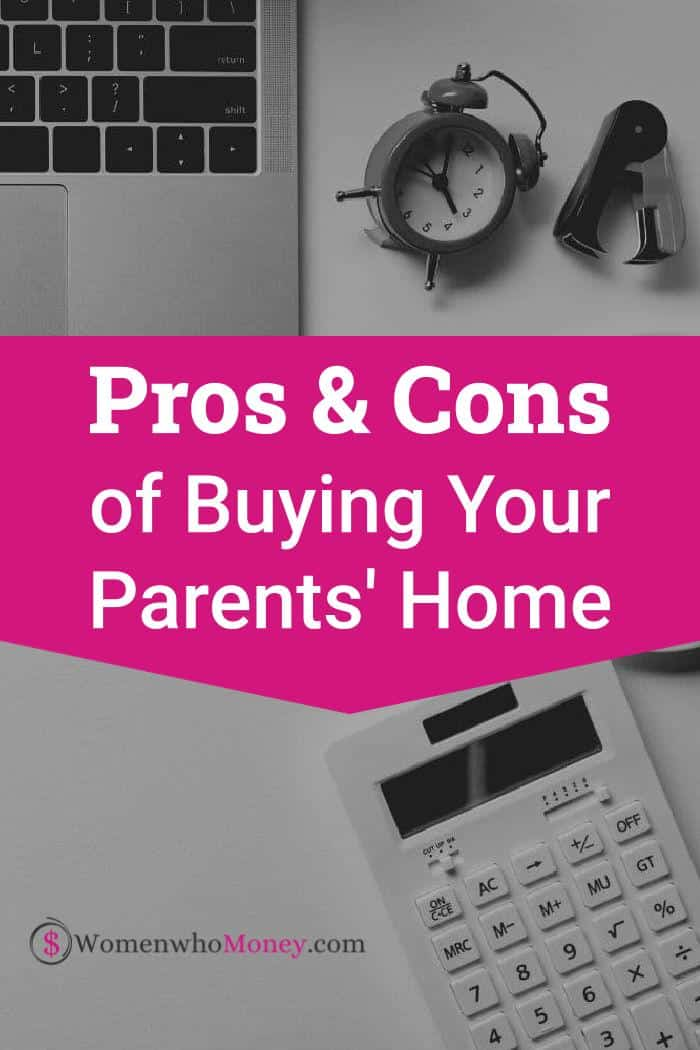 pros and cons of buying your parents home graphic