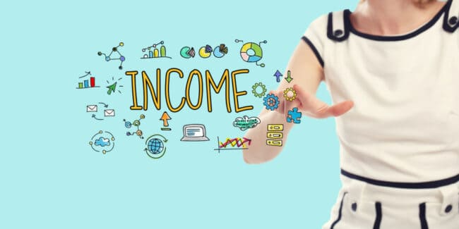 Income concept with young woman on a blue background