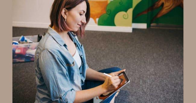 female creating art for extra money