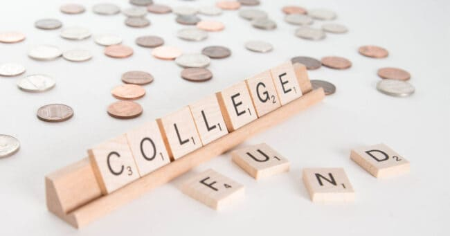 college fund spelled out with scrabble letter tiles