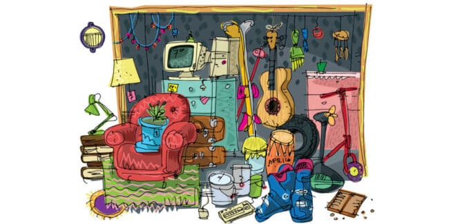 colored drawing of a house's furnishings