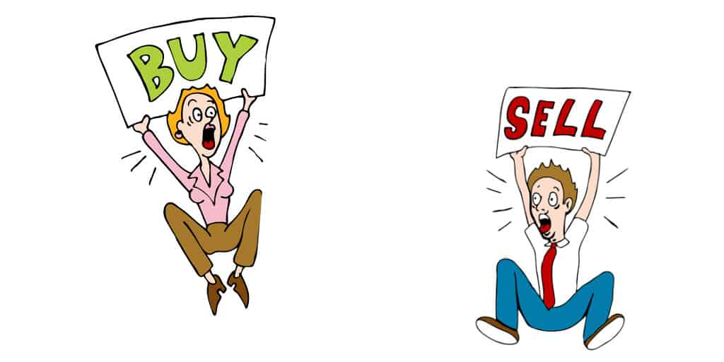 investors yelling buy and sell someone is giving bad investing advice