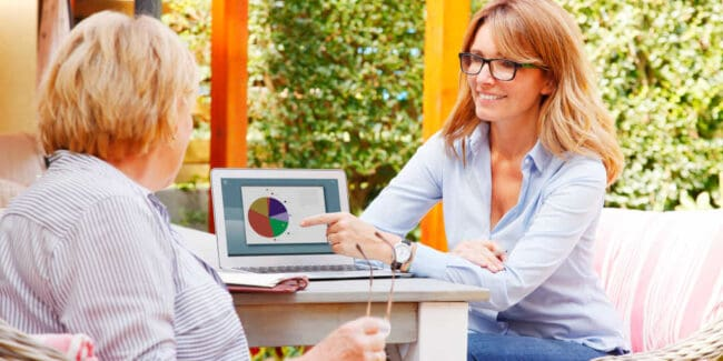 female financial advisor discussing retirement planning with female client