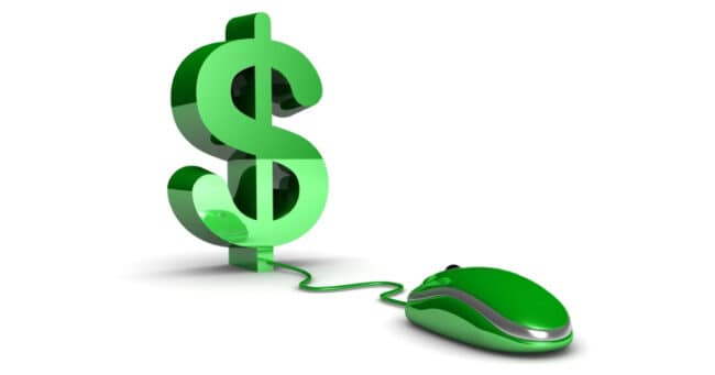 green money symbol wired to computer mouse