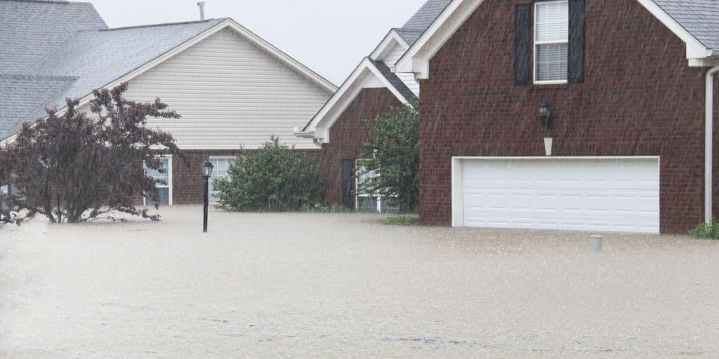 neighborhood homes in a major flood
