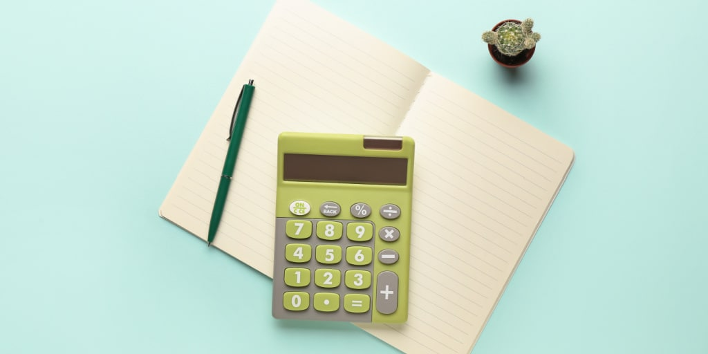 Digital calculator, notebook, pen and cactus on color background